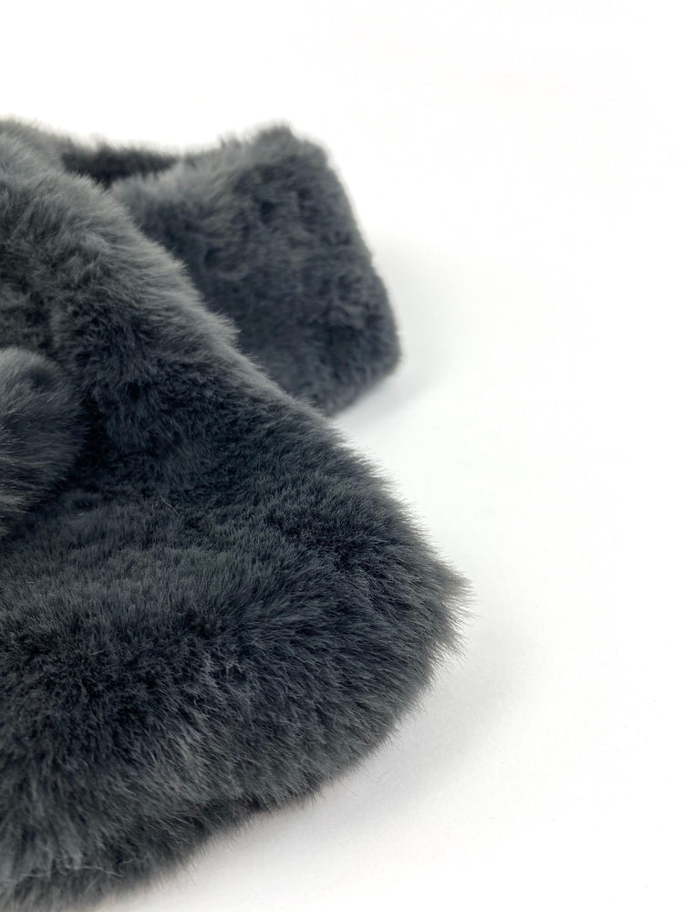 Faux Fur Dark Grey Scarf