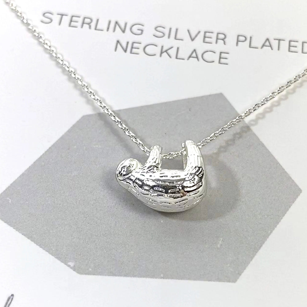 sterling silver plated sloth necklace