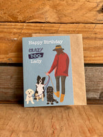 Greetings Card Crazy Dog Lady 222