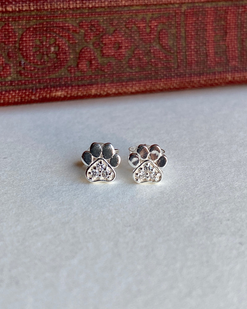 pretty vacant paw print stud earrings