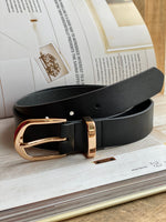 Black Classic Metal Keeper Belt