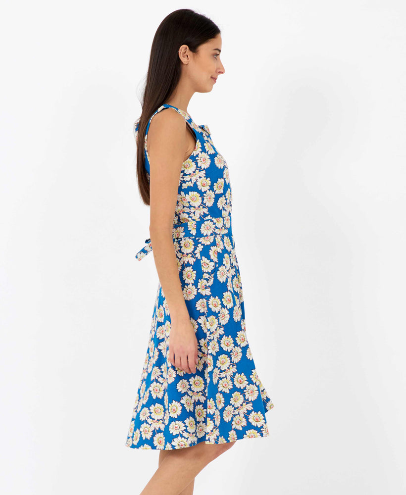 Brook daisy print dress - vintage style floral dress - side view