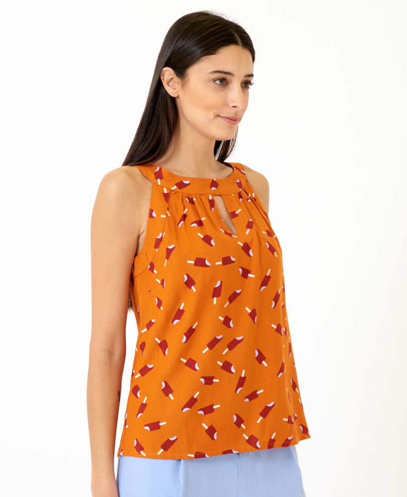 pretty vacant connie top - orange top with ice lollys and cutaway shoulders - side
