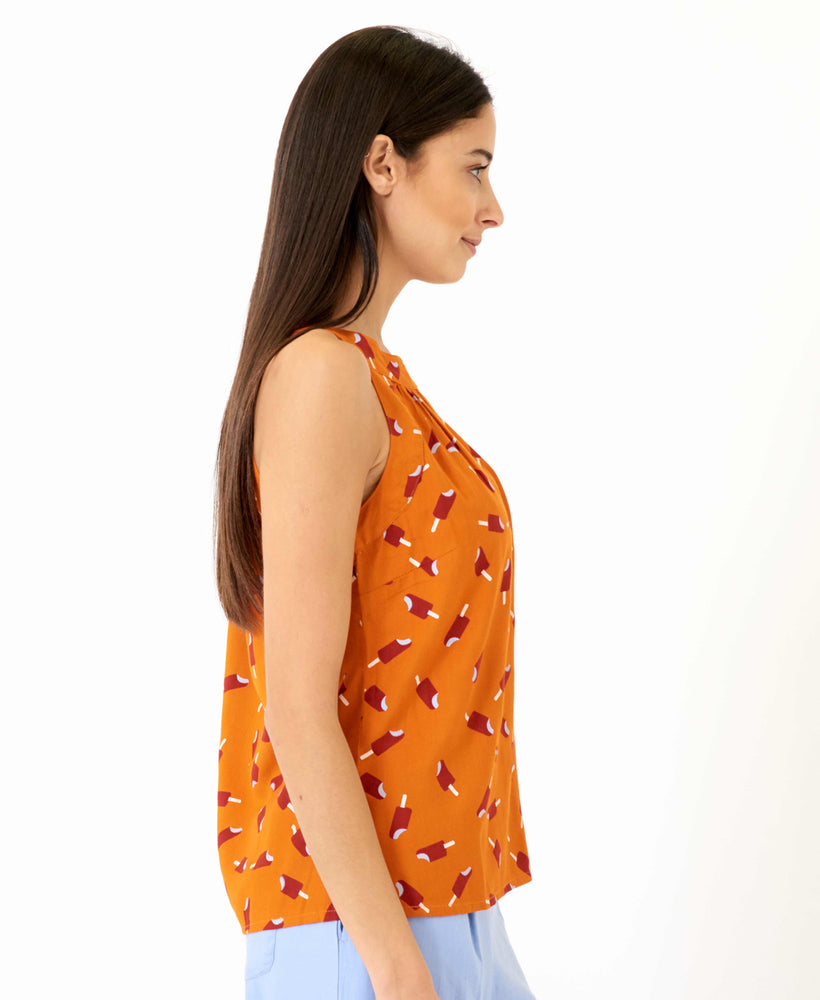 pretty vacant connie top - orange top with ice lollys and cutaway shoulders - side 2