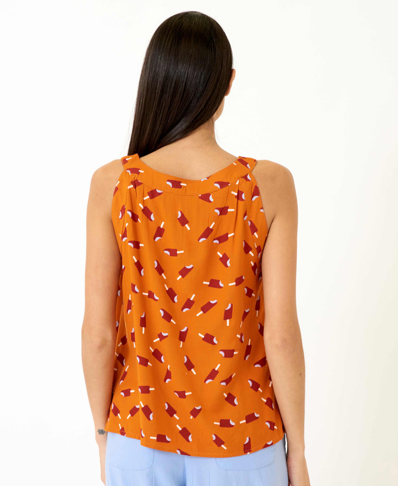 pretty vacant connie top - orange top with ice lollys and cutaway shoulders - back