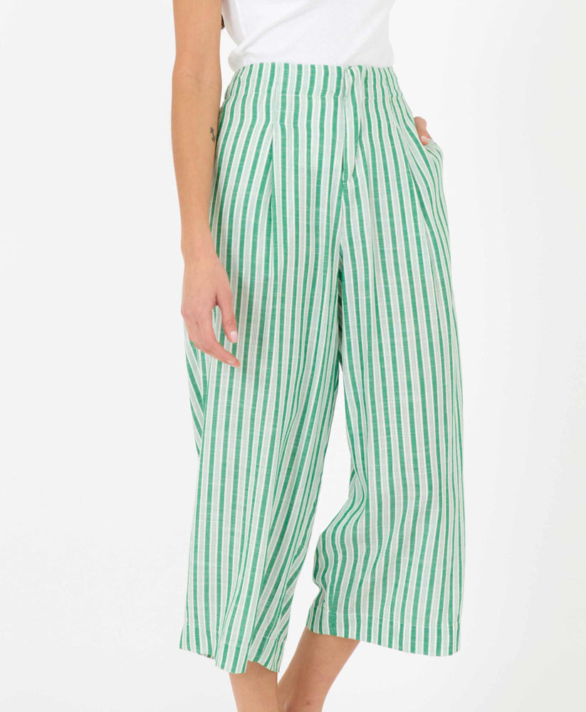 pretty vacant green stripe culottes - summer trousers - side
