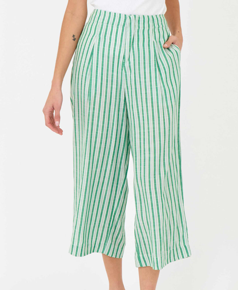 pretty vacant green stripe culottes - summer trousers - front