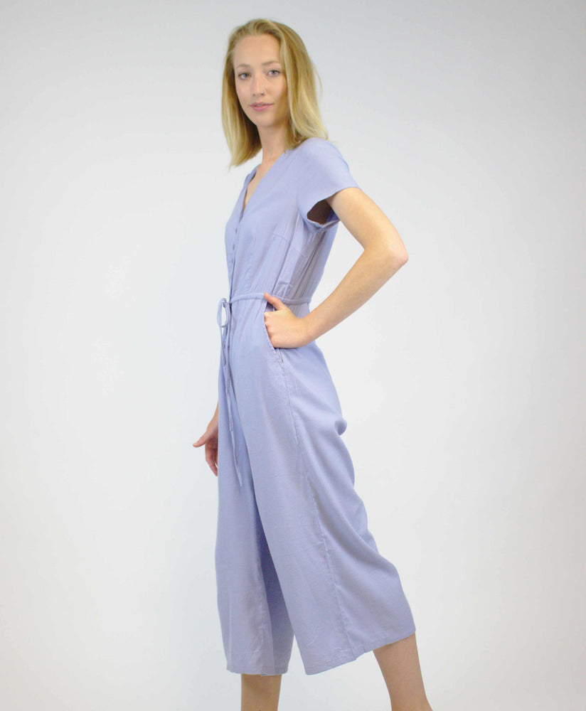 Pretty Vacant powder blue plain playsuit jumpsuit - side
