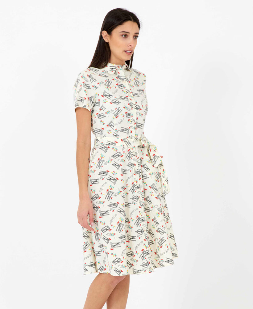 Pretty Vacant Debbie Dress in Bow print - 60s vintage midi shirt dress - side