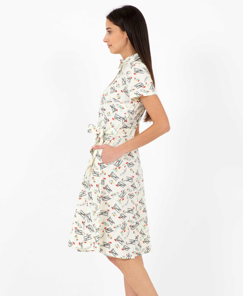 Pretty Vacant Debbie Dress in Bow print - 60s vintage midi shirt dress- side 2