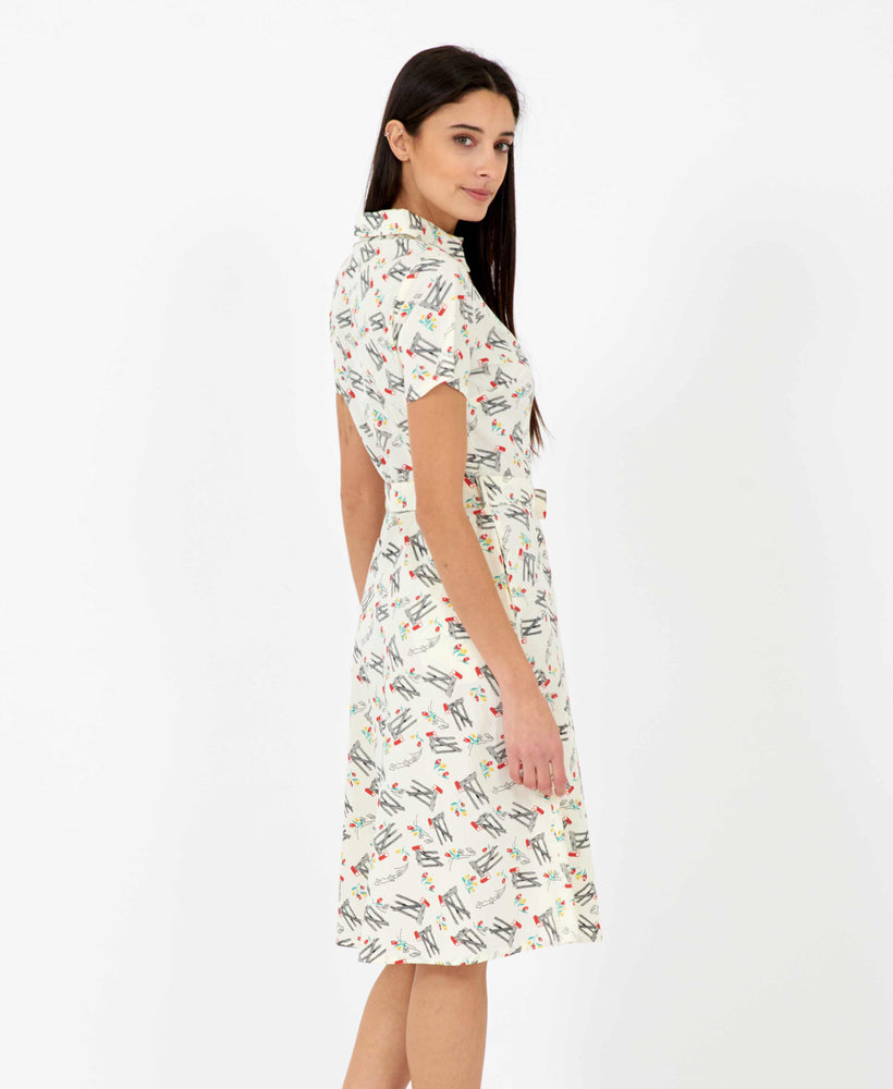 Pretty Vacant Debbie Dress in Bow print - 60s vintage midi shirt dress - back