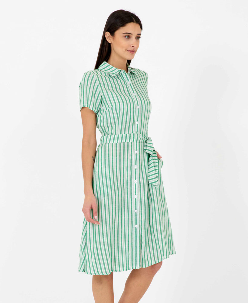Pretty Vacant debbie dress - green stripe midi shirt dress - side