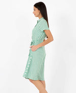 Pretty Vacant debbie dress - green stripe midi shirt dress - side 2