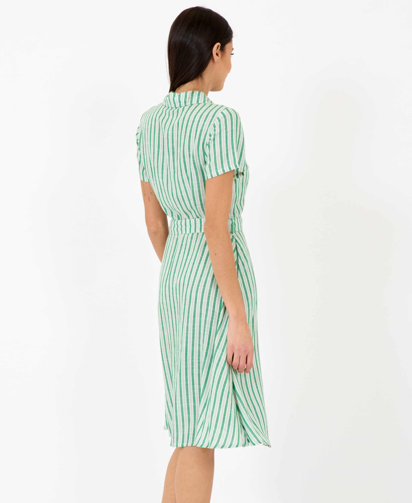 Pretty Vacant debbie dress - green stripe midi shirt dress - back