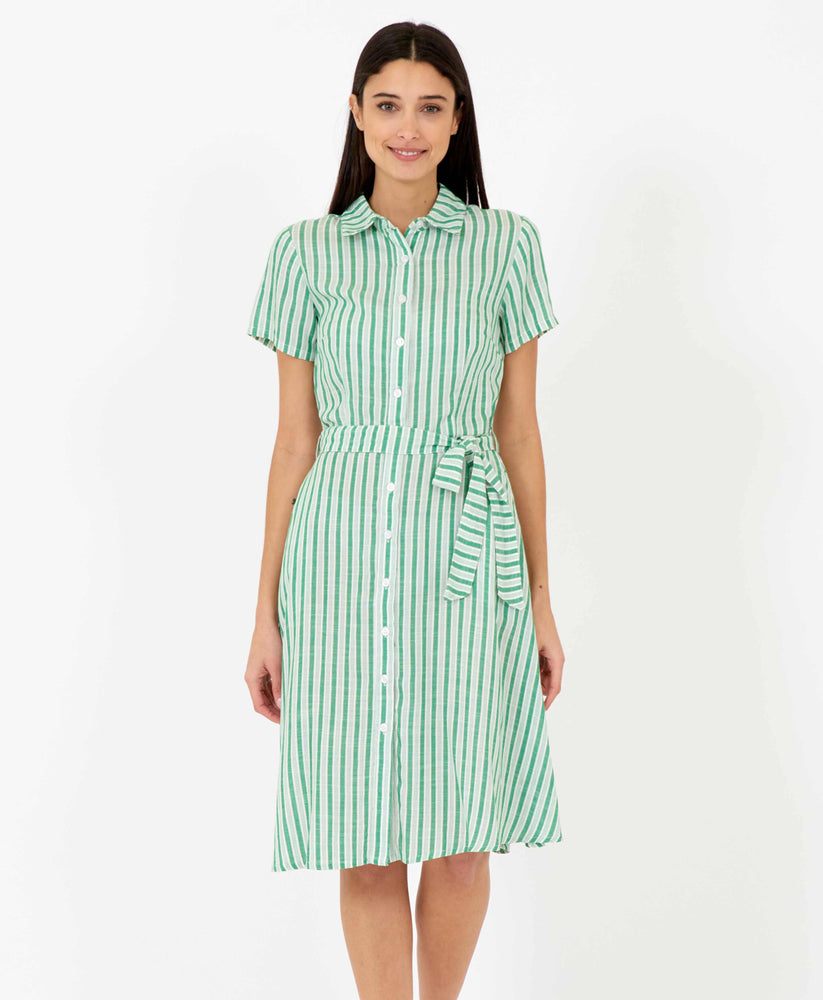 Pretty Vacant debbie dress - green stripe midi shirt dress