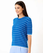 Pretty Vacant dotty royal blue knitted top - short sleeve summer top - back