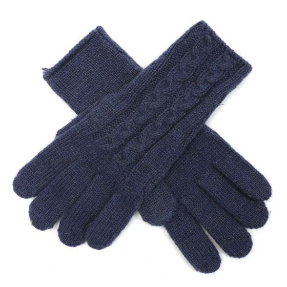 Navy Embroidered Gloves G1735