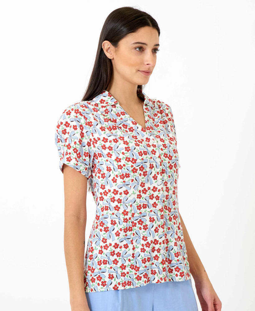 pretty vacant bows print gaby top - womens floral shirt - side