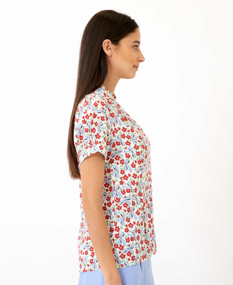 pretty vacant bows print gaby top - womens floral shirt - side 2