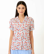 pretty vacant bows print gaby top - womens floral shirt