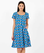 Pretty Vacant Gloria flower chain dress - skater midi dress blue with flowers