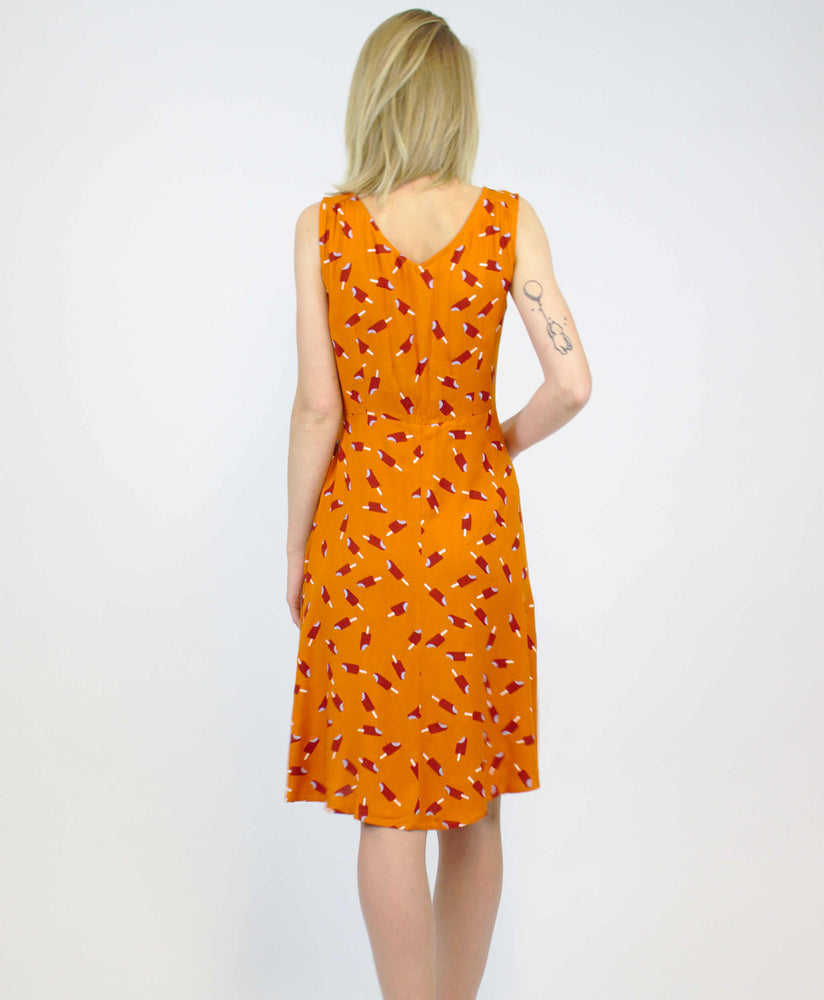 Pretty Vacant harriet ice lolly dress in burnt orange - vintage style midi dress - back