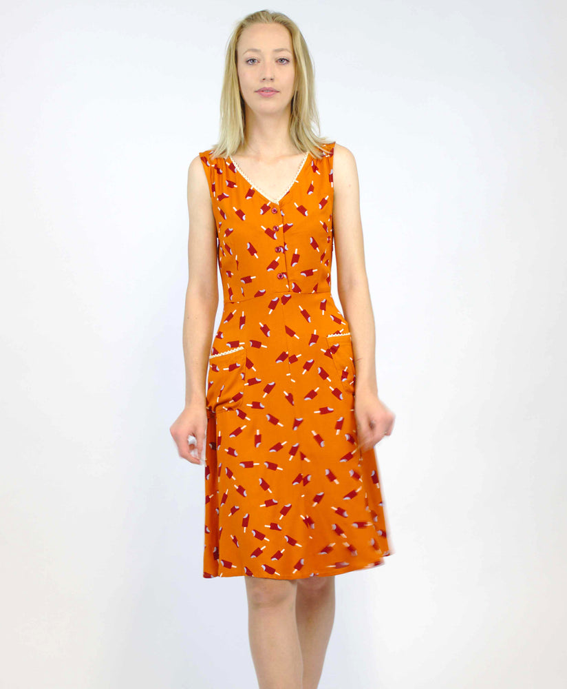 Pretty Vacant harriet ice lolly dress in burnt orange - vintage style midi dress