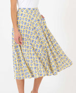Pretty Vacant hilda swing 60s skirt in tail print - yellow and blue - side