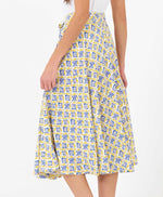 Pretty Vacant hilda swing 60s skirt in tail print - yellow and blue - back