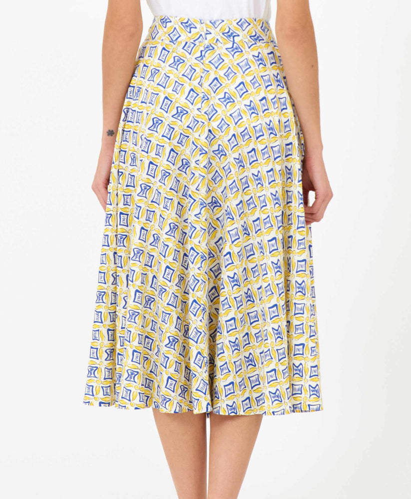 Pretty Vacant hilda swing 60s skirt in tail print - yellow and blue - back 2
