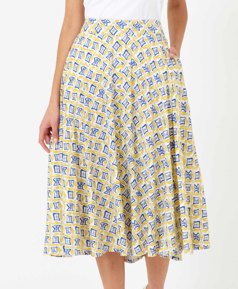 Pretty Vacant hilda swing 60s skirt in tail print - yellow and blue - front