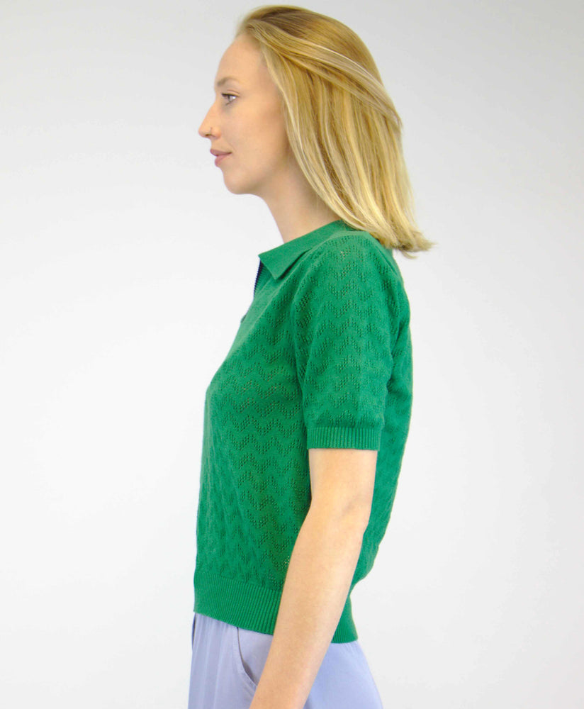Pretty Vacant green knitted summer top with open neck and collar - back