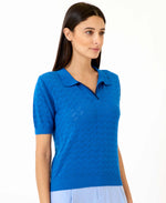Pretty Vacant honey blue knitted collar top for women - royal blue - side view