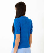 Pretty Vacant honey blue knitted collar top for women - royal blue - back