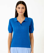 Pretty Vacant honey blue knitted collar top for women - royal blue