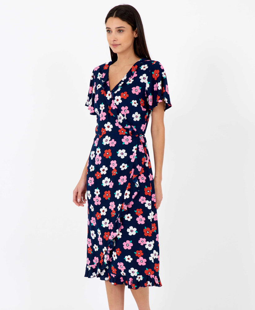 Pretty Vacant floral wrapover dress midi length in dark navy blue - side