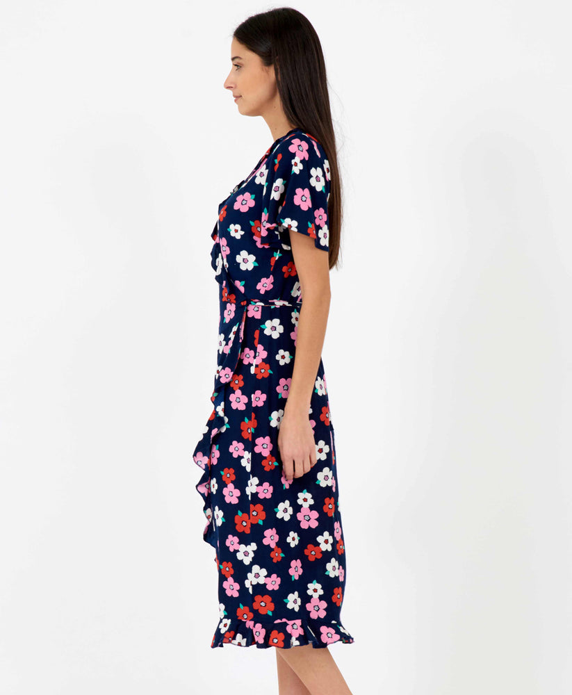 Pretty Vacant floral wrapover dress midi length in dark navy blue - side 2
