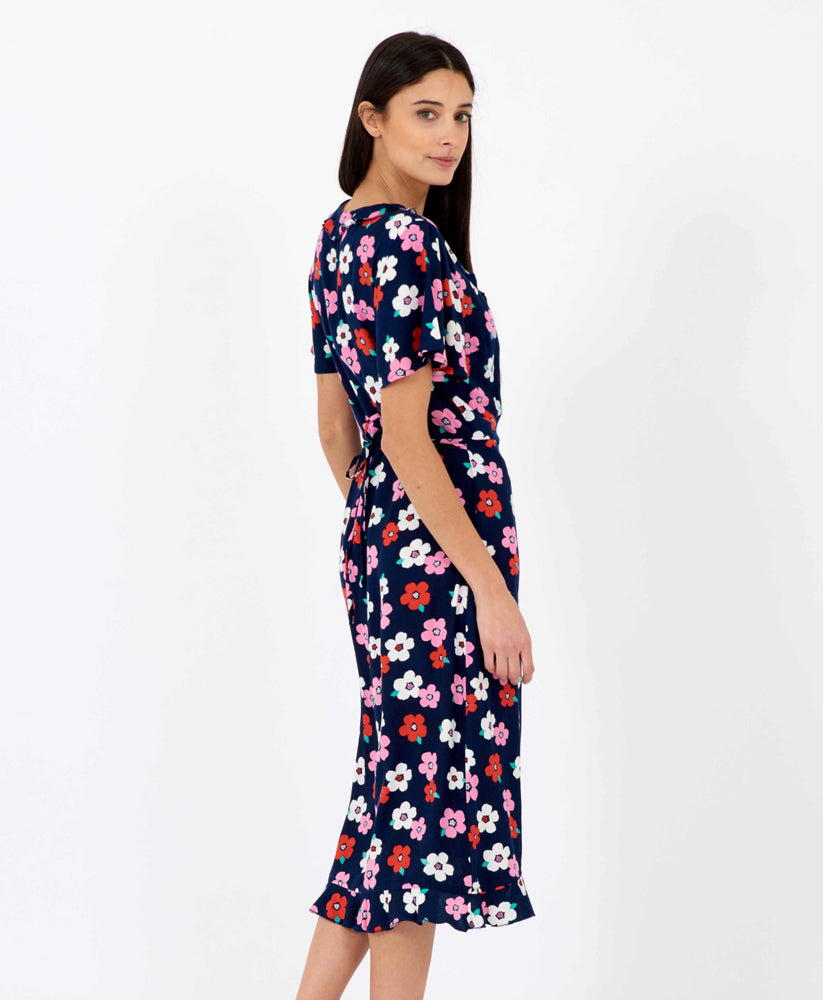 Pretty Vacant floral wrapover dress midi length in dark navy blue - back