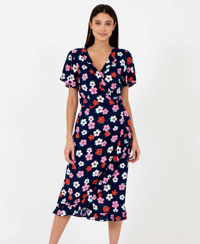 Pretty Vacant floral wrapover dress midi length in dark navy blue