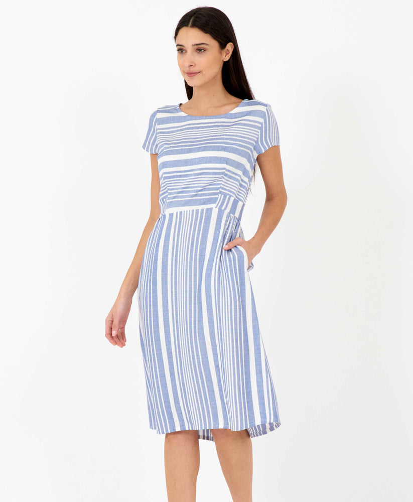 Pretty Vacant Jill Barcode Dress - blue striped midi dress with pockets - side pocket