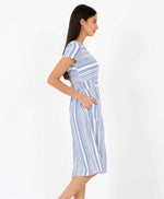 Pretty Vacant Jill Barcode Dress - blue striped midi dress with pockets - side view 2