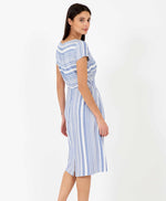 Pretty Vacant Jill Barcode Dress - blue striped midi dress with pockets - back