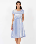 Pretty Vacant Jill Barcode Dress - blue striped midi dress with pockets