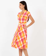 Pretty Vacant pink plaid Kelly dress - plaid vintage shirt dress - side with pocket