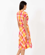 Pretty Vacant pink plaid Kelly dress - plaid vintage shirt dress - back