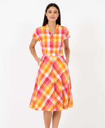 Pretty Vacant pink plaid Kelly dress - plaid vintage shirt dress