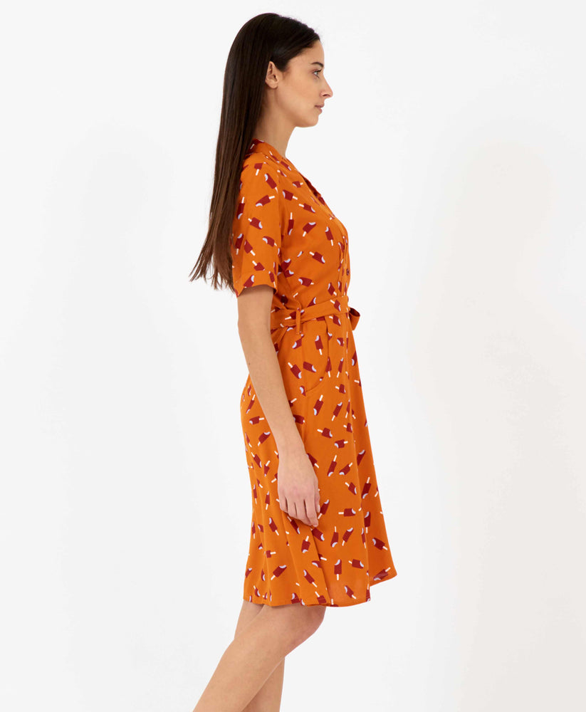 Pretty Vacant Kim Dress - burnt orange shirt dress with ice lolly print, midi length - side view