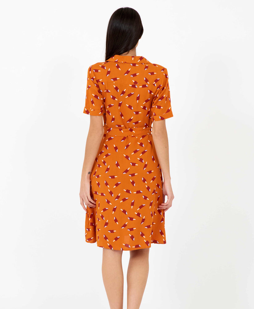 Pretty Vacant Kim Dress - burnt orange shirt dress with ice lolly print, midi length - back