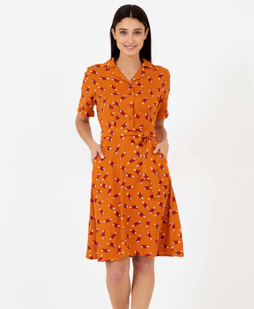 Pretty Vacant Kim Dress - burnt orange shirt dress with ice lolly print, midi length