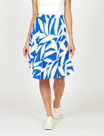 Martha Skirt Blue Palm Fronds Print